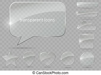 set of transparent icons - A set of glass icons or geometric...