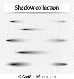 Set of transparent oval shadow with soft edges isolated.
