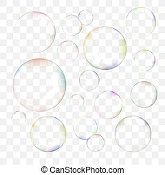Set of color transparent vector soap bubbles