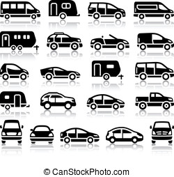 Set of transport black icons with reflection, vector...
