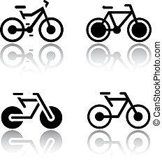 Set of transport icons - bikes, vector illustrations, set...