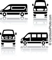 Set of transport icons - Cargo van, vector illustration