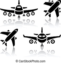 Set of transport icons - Plane, vector illustration