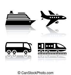 Set of transport icons - tourist