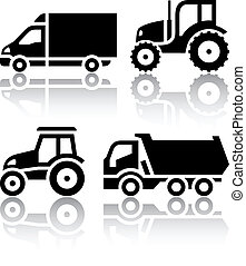 Set of transport icons - Tractor and Tipper, vector...