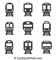 Set of transport icons - Train and Tram, vector illustration