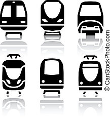 Set of transport icons - Train and Tram, vextor illustration