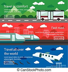 Set of transportation banners in flat design. Logistics and delivery concept vector. Bus, train, air transport