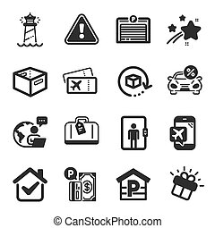 Set of Transportation icons, such as Hand baggage, Parking payment, Boarding pass symbols. Office box, Lighthouse, Gift signs. Return package, Parking garage, Elevator. Car leasing. Vector