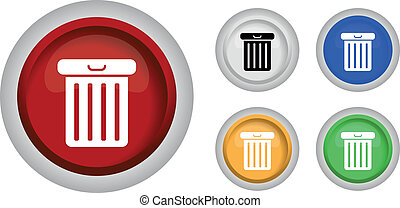 set of trash can icon, vector