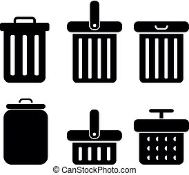 set of trash icon, vector