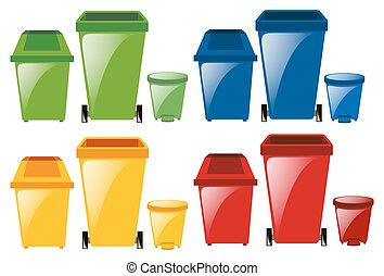 Set of trashcans in different colors