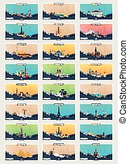 Set of Travel and Tourism banners. Around the World. America, Europe, Asia. Vector flat illustration.