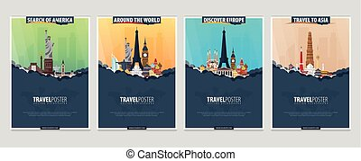 Set of Travel and Tourism banners. Around the World. America, Europe, Asia. Vector illustration.