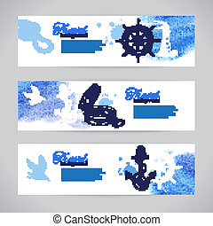 Set of travel banners. Sea nautical design. Hand drawn...