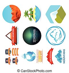 Set of Travel Emblem with Mountains, Ships and Sea Exotic Landscapes
