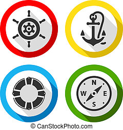 Set of travel flat color icons