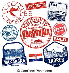 Set of travel grunge stamps with Croatia