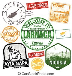 Set of travel grunge stamps with Cyprus