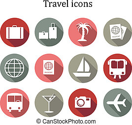 Set of travel icons. Vector