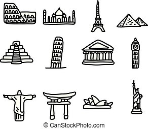 set of travel landmarks around the world icon set vector illustration sketch hand drawn with black lines, isolated on white background