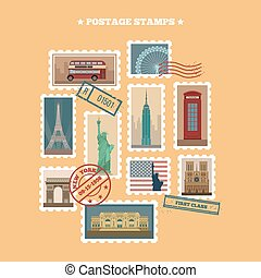 Set of Travel Postage Stamps: USA, New York, London, Paris