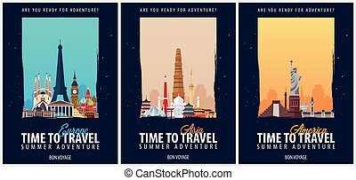 Set of Travel Posters. America, Europe, and Asia. Trip and vacation. Vector travel illustration.