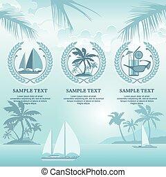 Set of travel symbols in blue