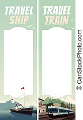 Set of travel templates with ship and train