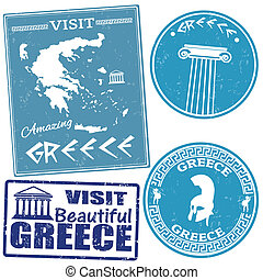 Set of travel to Greece stamps - Set of travel grunge stamps...