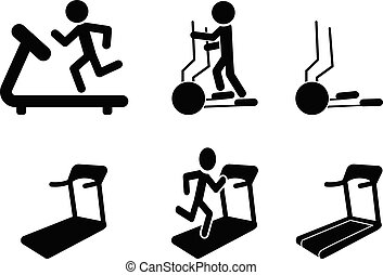 Set of Treadmill and Elliptical icons and symbol