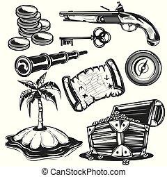 Set of treasure elements