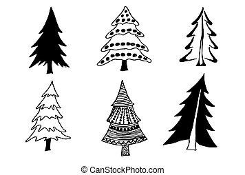 Set of tree doodles tree