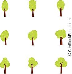 Set of tree flat design vector