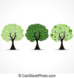 set of tree forming by recycle icon