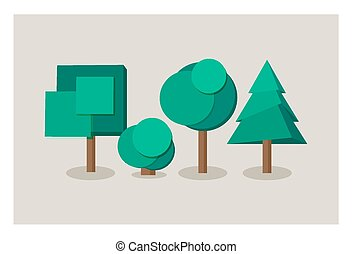Set of tree icons in flat style