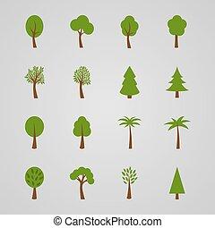 Set of tree icons, vector illustration