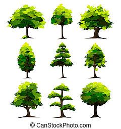 illustration of set of tree on isolated white background