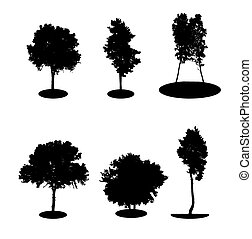 Set of Tree Silhouette Isolated on White Backgorund.