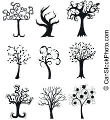 Set of Tree Silhouettes illustratio