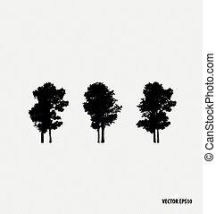 Set of tree silhouettes. Vector illustration.