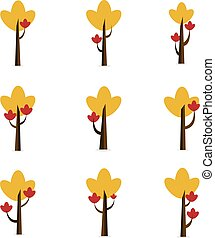 Set of tree style various vector flat