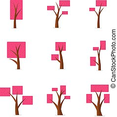 Set of tree various cartoon design