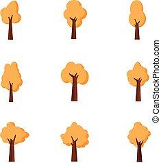 Set of tree various vector flat