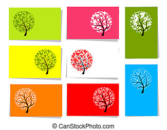 Set of trees, 10 cards for your design with place for your text