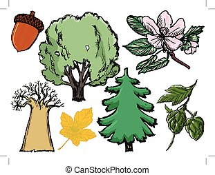 set of trees and plants with oak and pine