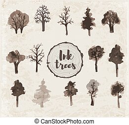 Set of trees hand drawn with ink