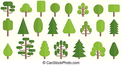 Set of trees icon in flat style