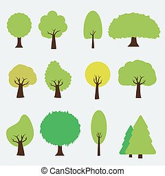 Set of trees icon style. Isolated vector.