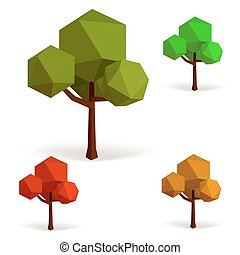 Set of trees in low poly style.